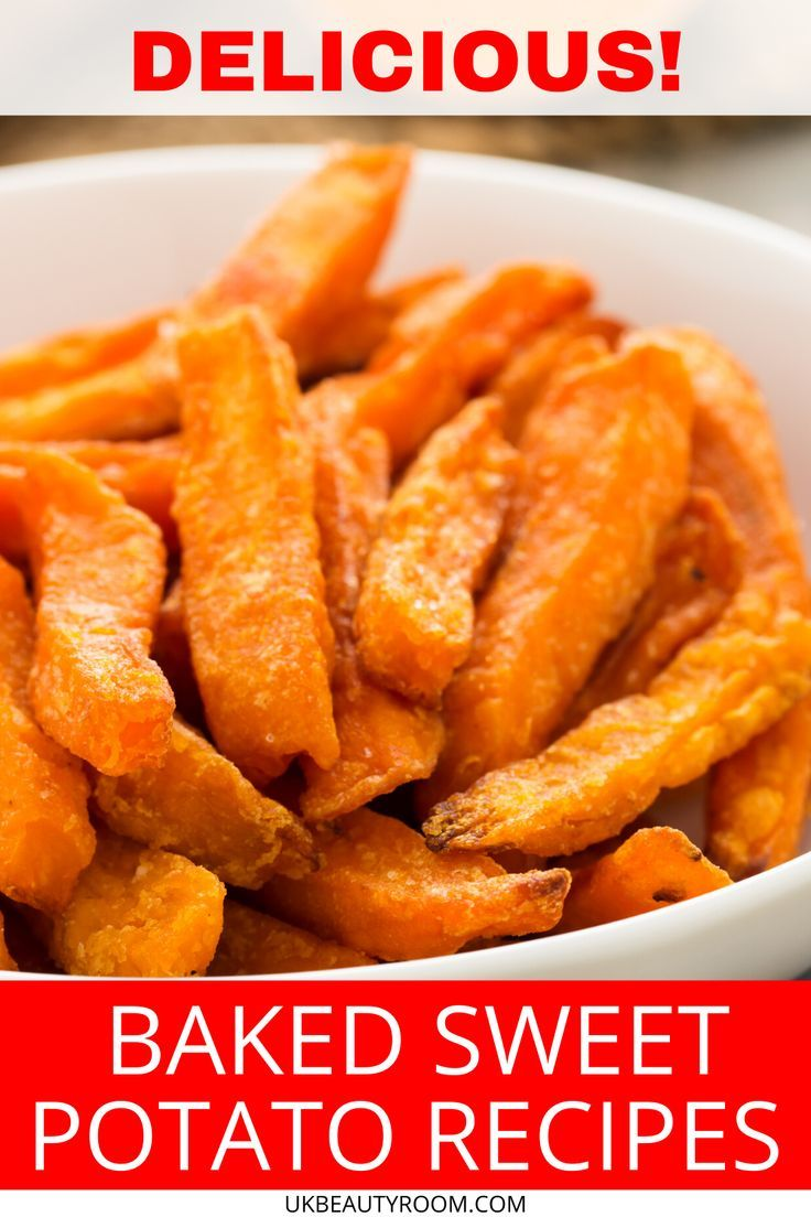 a healthy recipe for baked sweet potato fries dusted with paprika and roasted in the oven sweet pot in 2020 sweet potato fries baking sweet sweet potato recipes baked pinterest