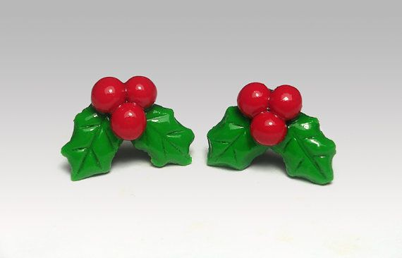 Holly Earrings Studs Polymer Clay Cute Christmas by PixieHearts, $18.50