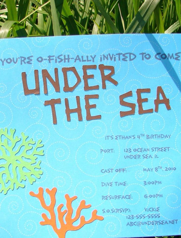10 UNDER THE SEA INVITATIONS. $30.00, via Etsy.