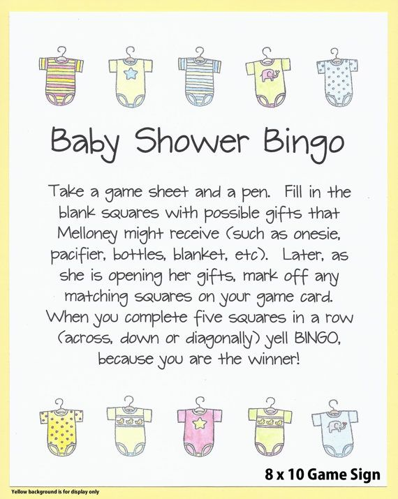 Baby Shower Bingo Game – Easy Baby Shower Games, Custom Baby Shower Games, Couples Baby Shower Games