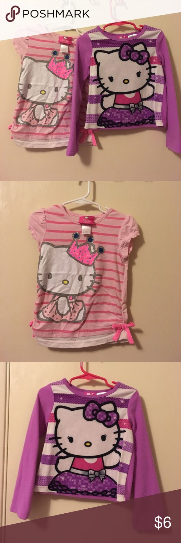 3 hello kitty shirts/long sleeve girls 4t Long sleeve in excellent condition size is 4/5. Shirt is in good condition size is 4.  Polka dot shirt is in excellent condition size 4. Shirts & Tops