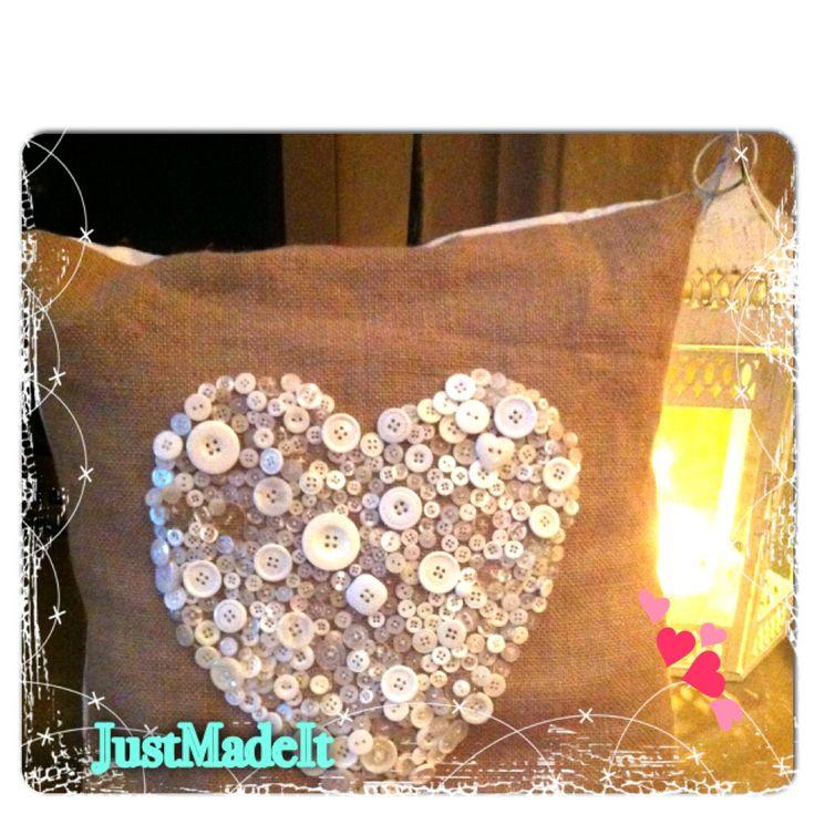 Button heart cushion
