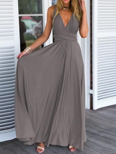 grey maxi dress, summer beach self tie dress, v neck summer gray dress - Crystalline