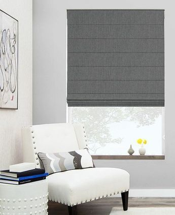 faltrollo selber nähen grau fenster deko wohnzimmer