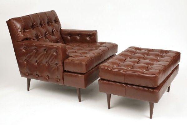 Edward Wormley for Dunbar Leather Chair & Ottoman   red modern furniture