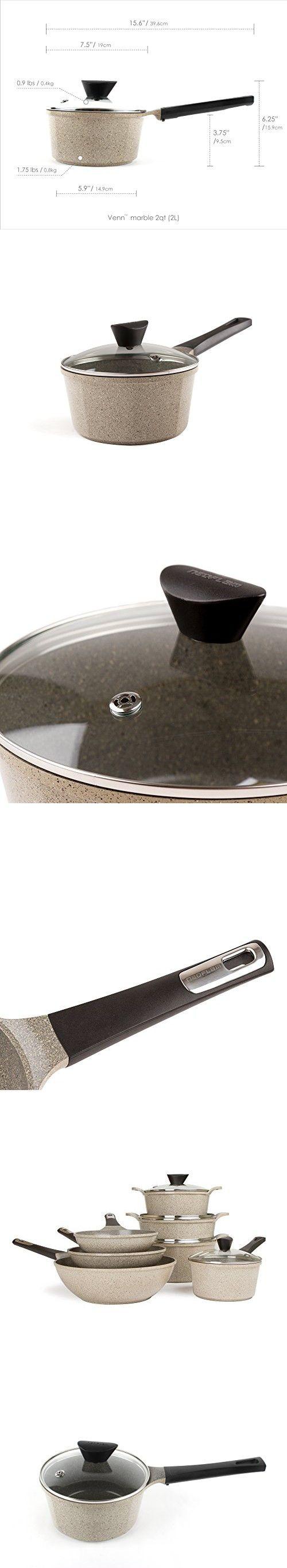 Neoflam Venn 2QT Ceramic Nonstick Saucepan w/ Glass Lid, Marble