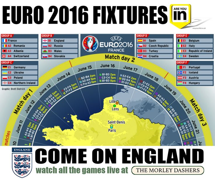 We can't wait for Euro 2016! Here are the Fixtures. Come on England!   Remember, you can watch all the games live at The Morley Dashers!  http://areyouinbusiness.co.uk/2016/06/03/euro-2016-fixtures/  http://areyouinltd.co.uk  http://www.morleydashers.co.uk