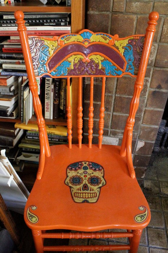 Dia De los Muertos chair I love this would go perfectly in my kitchen