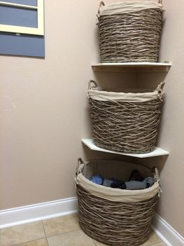 Save space AND keep your laundry room organized by installing shelves and stacking your laundry baskets! #ryobination  #diy