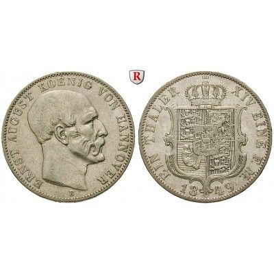 Braunschweig, Königreich Hannover, Ernst August, Taler 1849, ss: Ernst August 1837-1851. Taler 1849 B. AKS 107; sehr schön 75,00€ #coins