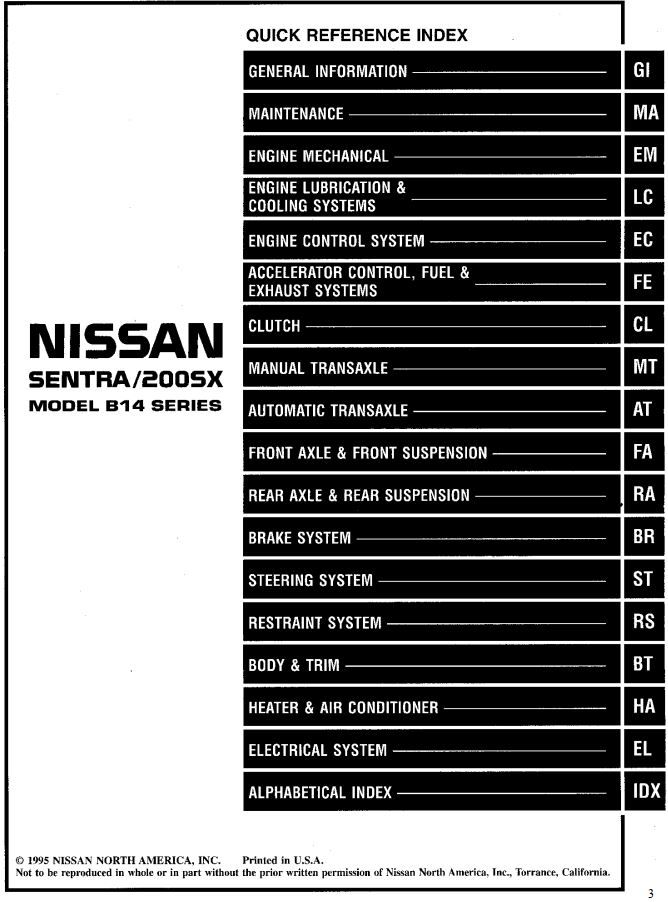 Nissan Sentra 200sx Model B14 Series 1996 Service Manual Electrical System Has Been Published On Procarmanuals Com Nissan Pickup Truck Nissan Nissan Sentra