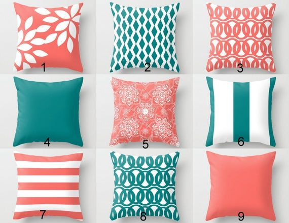 coral teal throw pillow covers 14x14