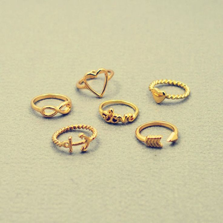 Новая мода ювелирные изделия сердце якорь бесконечность любви палец кольцо подарок для женщины дамы R1161
