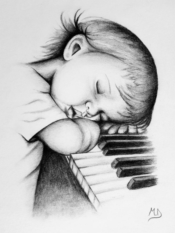 Baby drawing, piano, baby sleeping | Pencil drawings of ...