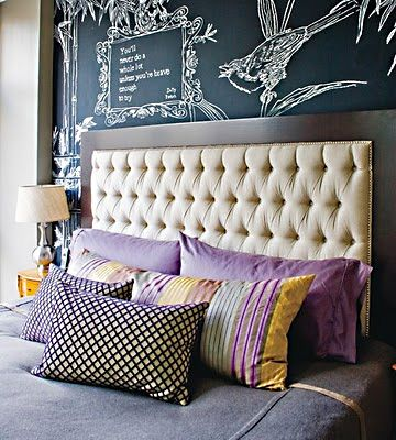 Chalkboard behind bed: Colors Patterns, Headboards Ideas, Tufted Headboards, Chalkboards Paintings, Chalk Boards, Bedrooms Headboards, Upholstered Headboards, Chalkboards Wall, Bedrooms Wall