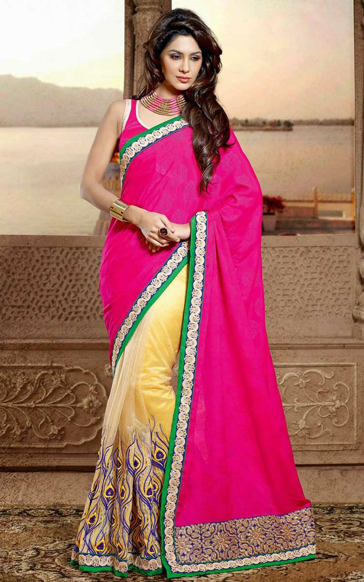PINK & YELLOW FAUX GEORGETTE EMBROIDERED SAREE - DIFF 28334