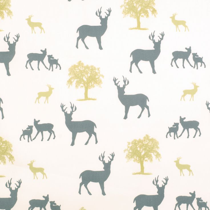 Stag Cotton in Grey and Yellow