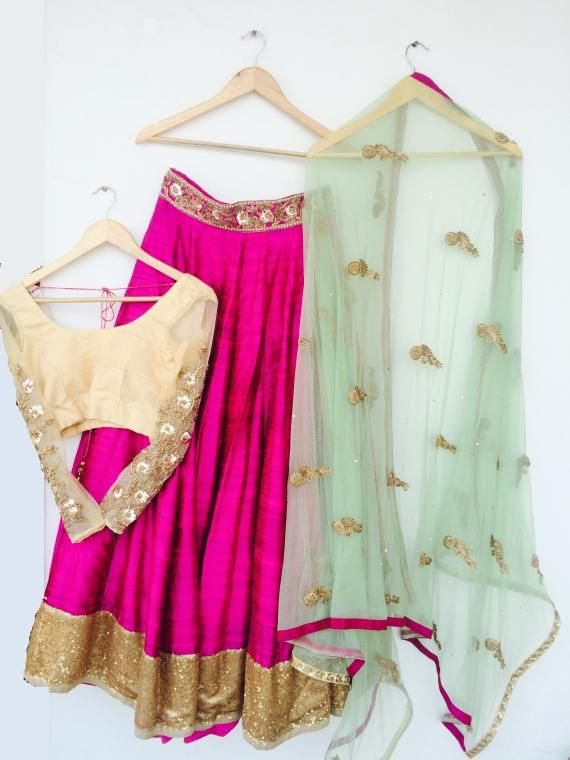 Bright Pink #Lehenga w/ #Choli in Gold, Dupataa in sky Blue by http://www.iinara.com/ Sector 40 #Gurgaon | Wedmegood