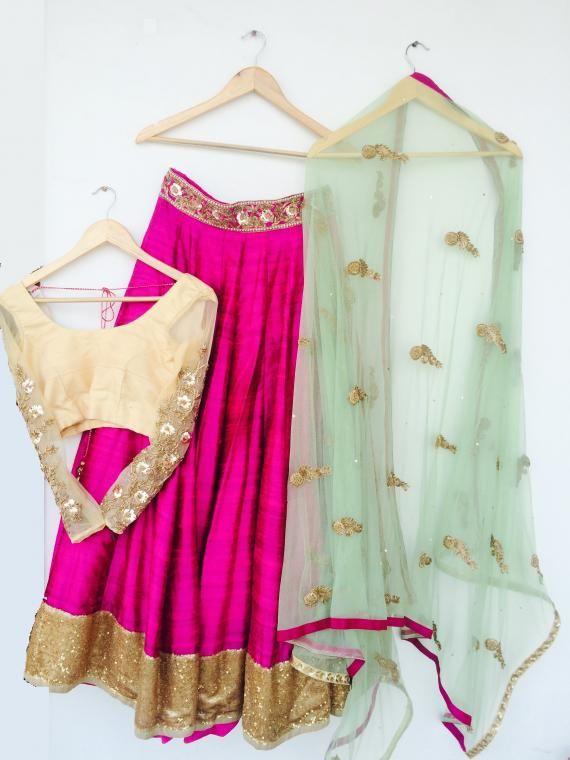 Bright Pink #Lehenga w/ #Choli in Gold, Dupataa in sky Blue by http://www.iinara.com/ Sector 40 #Gurgaon | Wedmegood