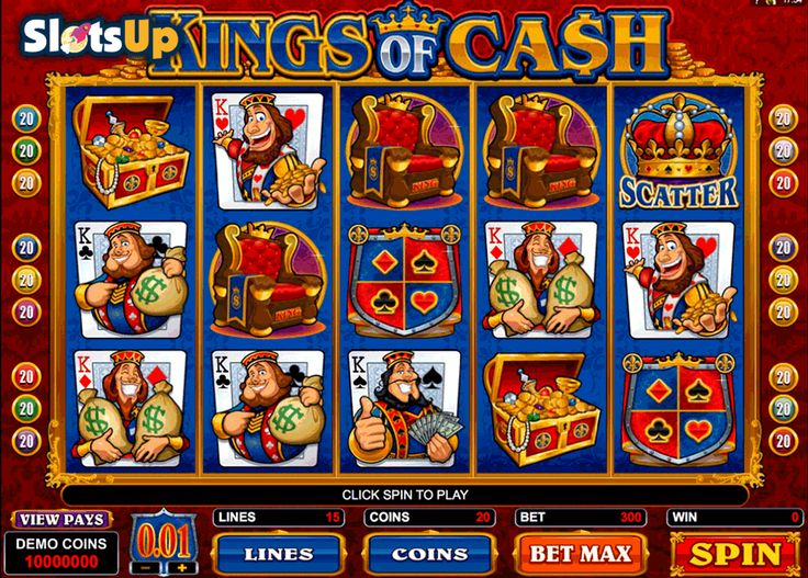 Get ready for generous prizes from cheerful Kings of Cash! Kings of Cash is the 5-reel, 15-payline @mic video slot dedicated to four card kings and filled with features. Spin the reels with two Scatters, a Wild icon, activate a bonus game, free spins with the 2x multiplier and a gamble feature. Dollars, crowns, and generous kings are waiting for you at SlotsUp.com