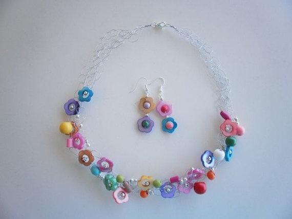 Colorful Necklace & Earrings by JoTheGreek on Etsy.
