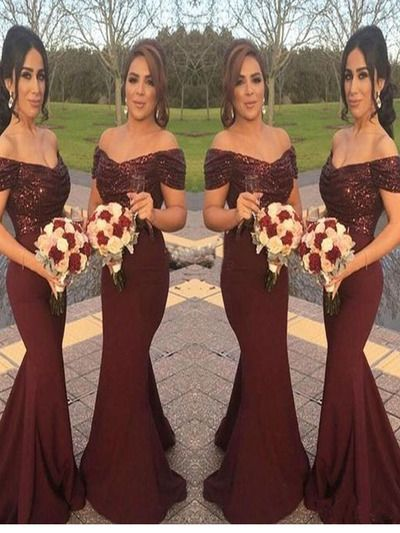 2017 Long Burgundy Bridesmaid dress, Sequin mermaid bridesmaid dress, Elegant bridesmaid dress, Off the shoulder bridesmaid dress. PD2190
