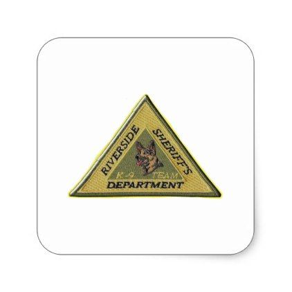 Riverside County Sheriff K-9 Square Sticker - law gifts lawyer business diy cyo personalize