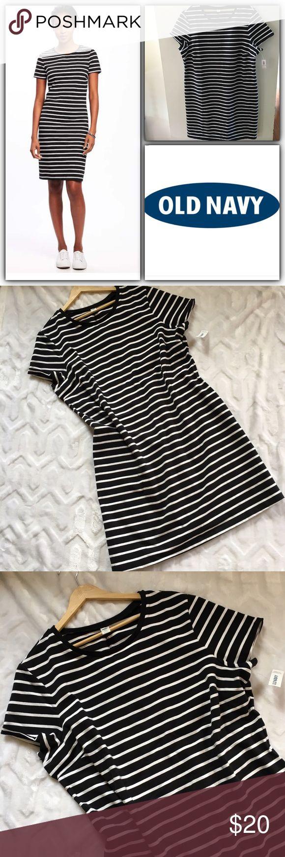 Black t shirt old navy - Nwt Old Navy Black And White Stripe T Shirt Dress Nwt