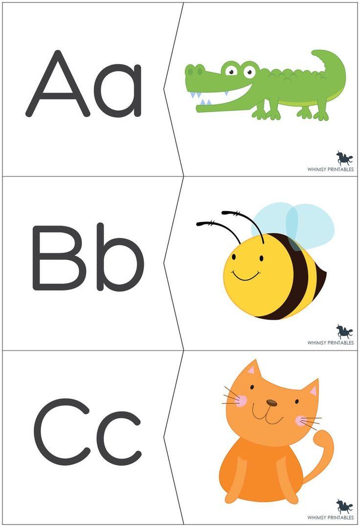 Alphabet matching puzzle beginning sound preschool