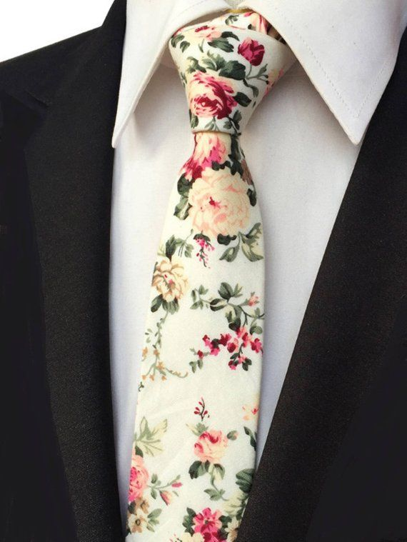 Red Floral Pocket Square Wedding Bow Ties Cream Bow Tie and Pocket Square