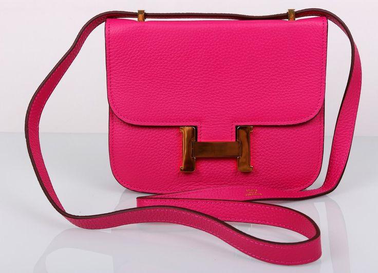 Сумка Hermes Constance небольшая из натуральной кожи розовая с золотой фурнитурой. Размер 23х18х7см #19255