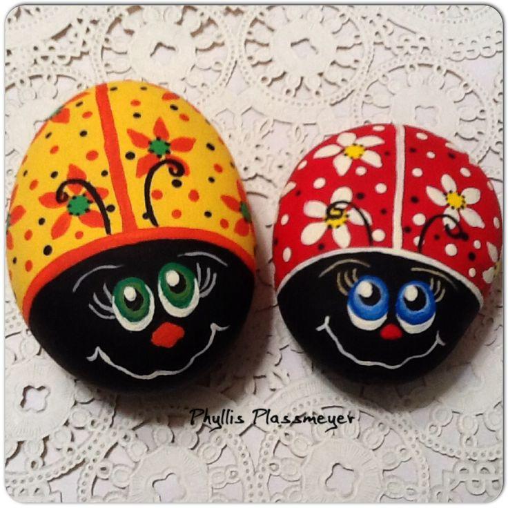 Ladybugs - Painted rocks by Phyllis Plassmeyer