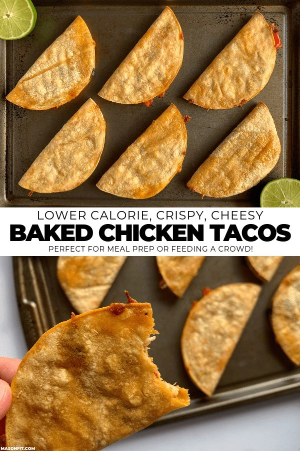 A simple way to make healthier crispy baked chicken tacos in bulk with cooked ch…