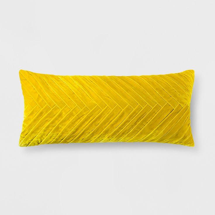 Aqua Pleated Velvet Lumbar Pillow – Opalhouse™