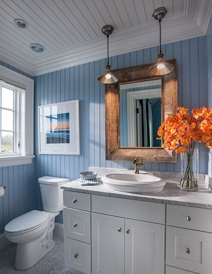 Awesome Websites New HGTV Dream House with Designer Sources Blue bead board walls bring New England charm into this bathroom while a Carrara marble vanity top and