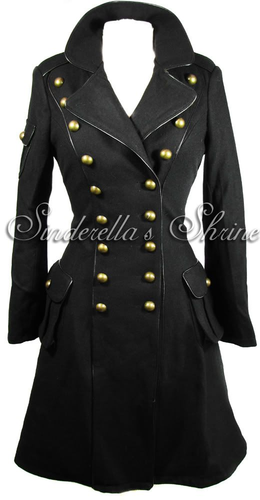 HELL BUNNY ~IMMa~ 1940's Military Steampunk Black Wool Corseted Frock Coat 6-16