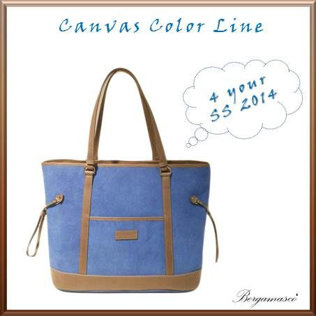 Blu Canvas with brown leather details.