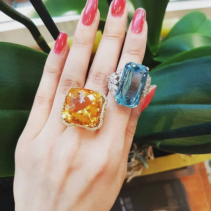 @moira_fine_jewellery This stunning 1940's aquamarine and diamond cocktail ring and this gorgeous 36.00ct citrine and diamond ring.