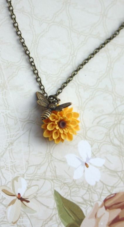 Flying Bee Necklace. Bee and Sunflower, Honey Bee and Yellow Mum, Chrysanthemum Flower Necklace. Bee Lover Gifts by Marolsha.  https://www.etsy.com/listing/74857542/flying-bee-necklace-bee-and-sunflower?ref=shop_home_active_21
