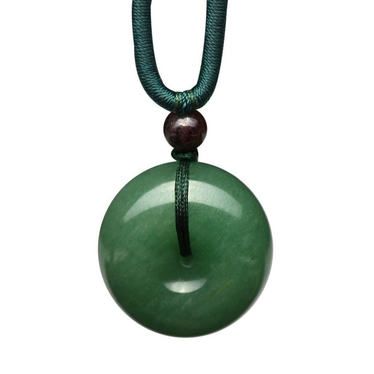 Parma77 Donut Light Green Jade Pendant Necklace Jewelry Lucky Protection Powers Amulet: Jewelry: