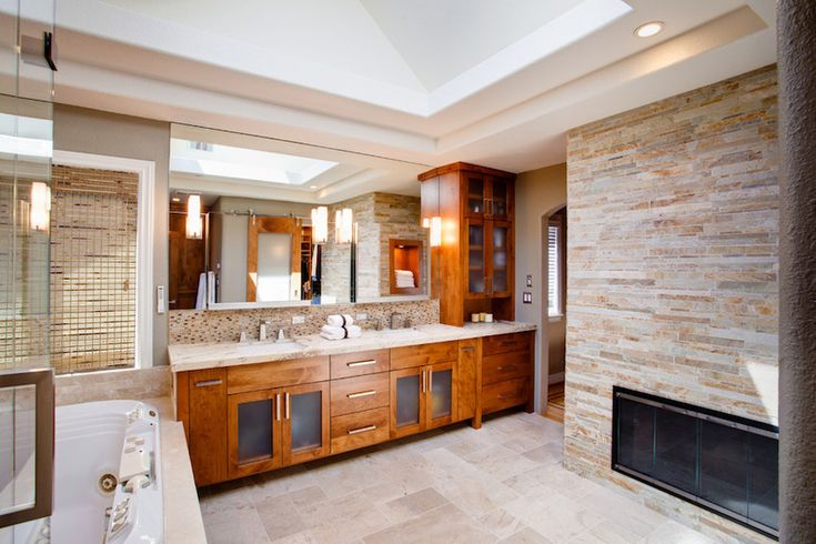 Luxury master bathroom with wooden vanity and textured flooring. 50 Magnificent Luxury Master Bathroom Ideas ➤To see more Luxury Bathroom ideas visit us at www.luxurybathrooms.eu #luxurybathrooms #homedecorideas #bathroomideas @BathroomsLuxury