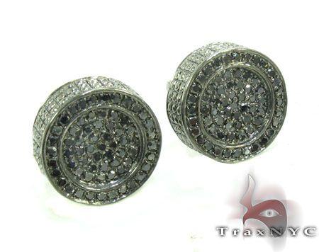 Silver Black Diamond Earrings 28525 Black Diamond Earrings for Men .925 Silver Round Cut 0.42 ct