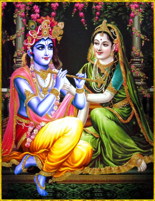 "✨ RADHA KRISHNA ✨""The supreme one who is celebrated as the Supreme Being or the Supreme Soul is the supreme source of the cosmic manifestation as well as its reservoir and winding up. Thus He is the Supreme Fountainhead, the Absolute Truth.""~Srimad Bhagavatam 2.10.7"