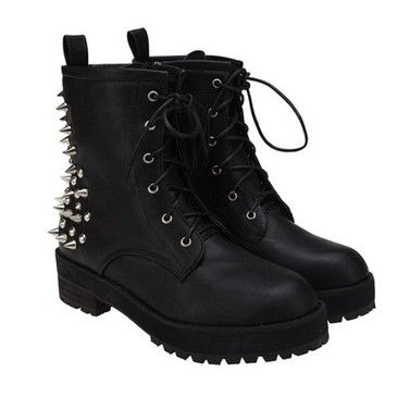 New Ladies Black Spike Studs Punk #Gothic Lace Up Engineer Motorcycle Ankle #Boots