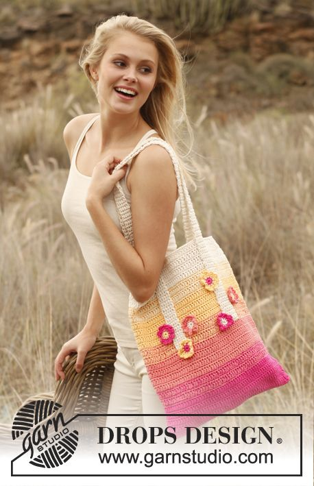 """Crochet DROPS bag in 2 threads """"Safran"""". ~ DROPS Design Something to do with those great Drops flower designs!!"""