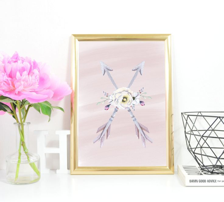 Arrow Print A4 Instant Download Nursery Arrow Printable Art Crossed Arrows Tribal Decor Watercolour Flower Native Decor Pink by InkBoutiqueDesign on Etsy