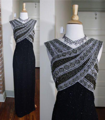 LAURENCE KAZAR VTG 20s 30s STYLE DECO BEADED GREAT GATSBY Formal Dress 3X