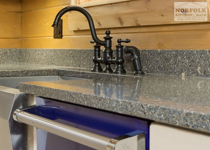 Log cabin kitchen with blue appliances with images log