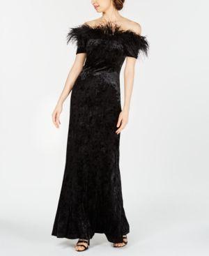Calvin Klein Velvet Feather Trim Gown Black 10 Long
