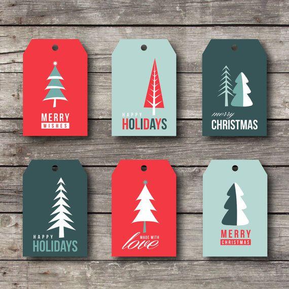 Christmas Gift Tag Set  Merry Christmas  Printable by 51FOLD